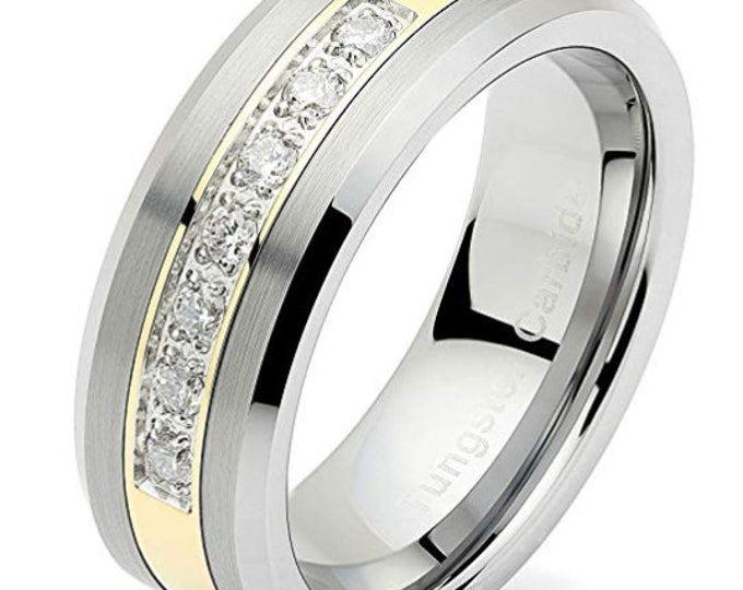 Reg. 599.95 8mm Polished Tungsten Ring 14k Gold Inlay w/ Cubic Zirconia Comfort Fit (Wedding, Engagement Ring, Mens Tungsten Wedding Band)