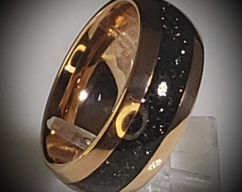 8mm Hawaiian Black Sand Inlaid into Rose Gold Tungsten Dome Ring! Unisex for Men or Women.  Wedding Band, Honeymoon, Anniversary (Size 4-18)