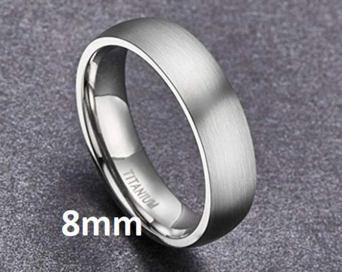 """Reg 215.95 - 8mm """"Hypoallergenic Gunmetal Gray CP-2 Grade Pure Titanium"""" Brushed Comfort Fit Dome (Mens & Womens Engagement Wedding Band)"""