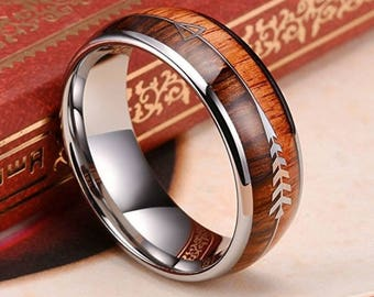 REG 289.95 - Koa Wood & Zebra Wood with Two Silver Hunting Arrows Inlay Dome Tungsten Ring |valentines day, engagement, wedding, anniversary
