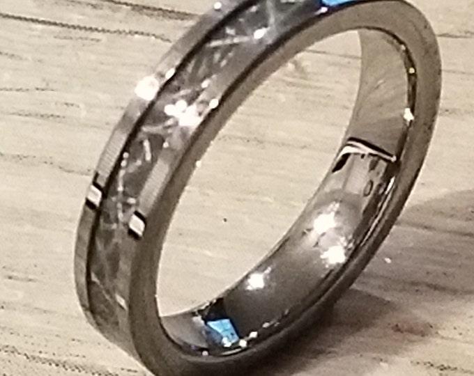 METEORITE:  REG 299.95 - Size 6-14;  4mm Tungsten w/ Meteorite style Inlay Ring (Gibeon, Seymchan, Muonionalusta style Meteorite casual band