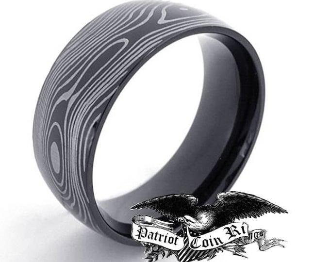 Reg 299.95 - 7mm Damascus Titanium Unisex Ring  (men or woman, wedding band replacement, anniversary ring, engagement ring, damascus style)