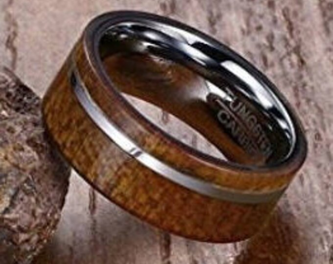Reg 215.00 - 8MM Tungsten Carbide With Pure Hawaiian Koa Wood Flat Wall Wedding Band Ring (wood wedding rings, engagement ring, anniversary)