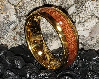 8mm Tungsten Carbide & Sequoia, Coast Redwood | 14k Gold Plated | Vintage Dome Wedding Band, Engagement Ring, Men or Woman (Band Sizes 6-16)