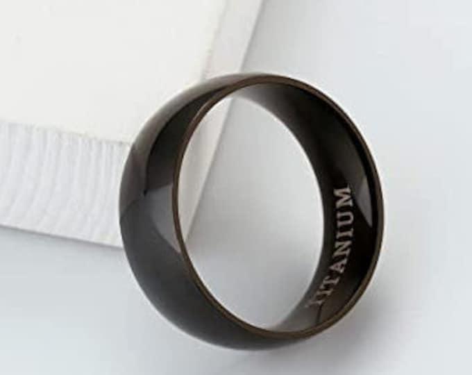 8mm Black Titanium Band,Wedding,Engagement,Dome Ring,High Polished,Comfort Fit,Unisex Ring,Men's Ring,Ladies/Women/Girls' Ring.