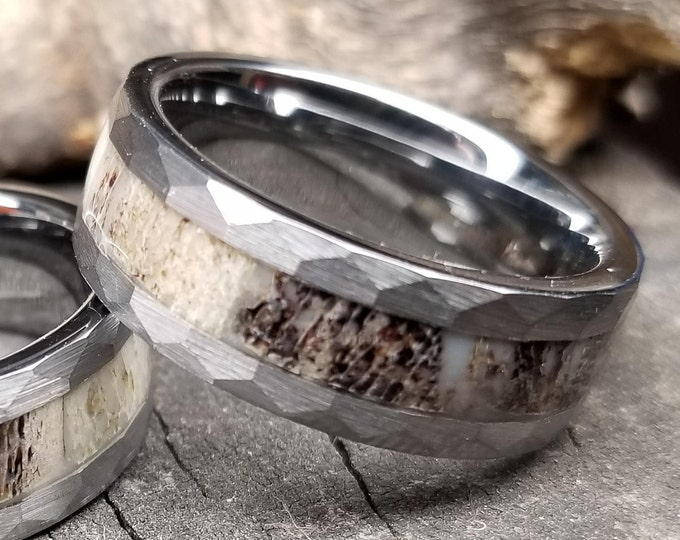 REG 399.95, 8mm Silver Tungsten Ring, Deer Antler Inlay Wedding Band, Rustic Hammered Design, Engagement, Anniversary, Promise, Size 5-18.