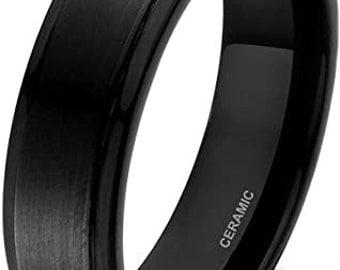 6mm Black Ceramic Ring,Black Carbon Fiber Inlay,Brushed Finished,Wedding Band,Men's Ring,Women's Engagement Band,US Sizes 5-12.