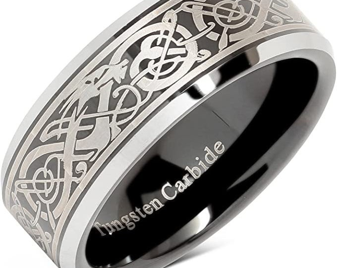 8mm Silver Celtic Dragon Engraved Tungsten Carbide Band,Black Band,Wedding,Engagement,Unisex Ring,Comfort Fit,US Sizes 8-15.
