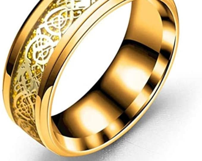 8mm Gold Celtic Dragon Band,Stainless Steel Ring,Hypoallergenic,Wedding,Engagement,Unisex Ring,Comfort Fit,US Sizes 6-13.