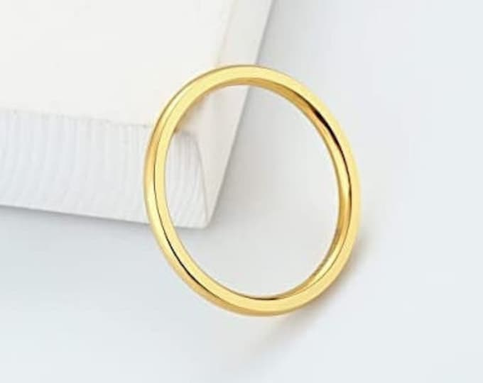 2mm Titanium Band, Wedding, Engagement, Dome, High Polished Band w/ Comfort Fit, Gold Finish, Ladies, Women, Girls Ring (US Size 5-15)