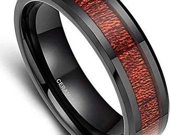 6mm Black Ceramic Ring,Black Carbon Fiber Inlay,Wood finish,Wedding Band,Men's Ring,Women's Engagement Band,US Sizes 5-11.
