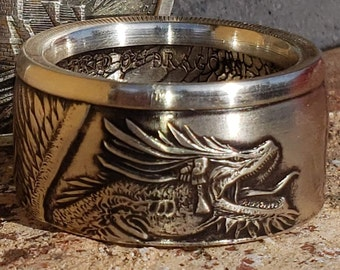 """LIMITED EDITION:  AZTEC """"World of Dragons - 1st Series"""" .999 Solid 1oz Silver Coin Rings (Welsh, Bikers Coin Ring, Mans Heavy Ring, Fantasy)"""