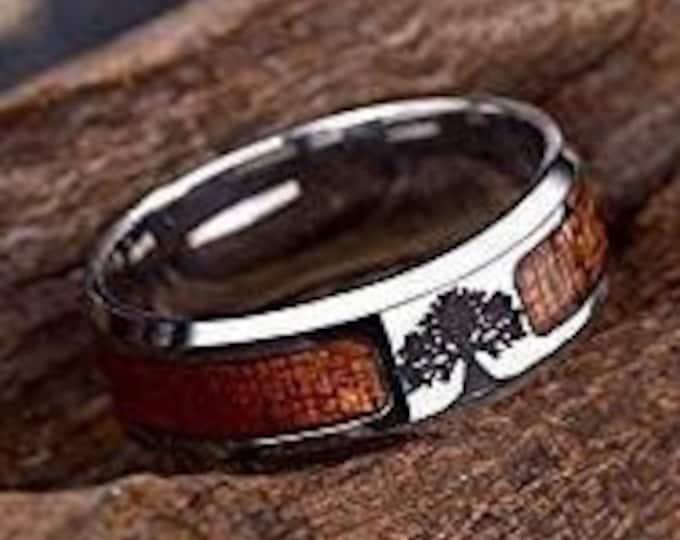 Titanium Band, Tree of Life Wood Ring, Unisex Ring, Wedding, Engagement, US Sizes 7-13