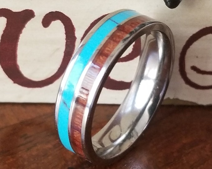 8mm Natural Koa Wood and Turquoise Stone on Comfort Fit Tungsten Carbide (Wedding, Promise Ring, Engagement, Anniversary) US Ring Size 4-13