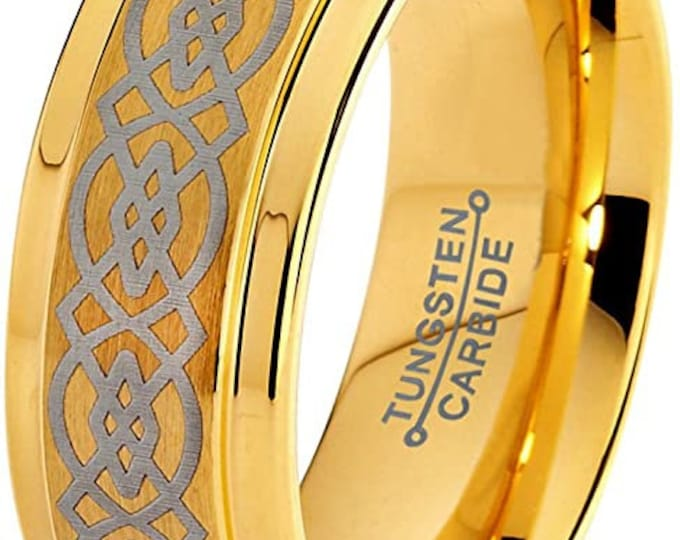 8mm Gold Celtic Dragon Tungsten Carbide Band,Celtic Knot,18K Yellow Gold Plated,Step Beveled Edge,Brushed Polished,Unisex Ring,Comfort Fit.