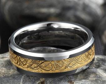 Reg 199.99  8mm Silver/Gold Celtic Dragon Titanium Classic Wedding Band (Good Luck Ring) US Size 5-14
