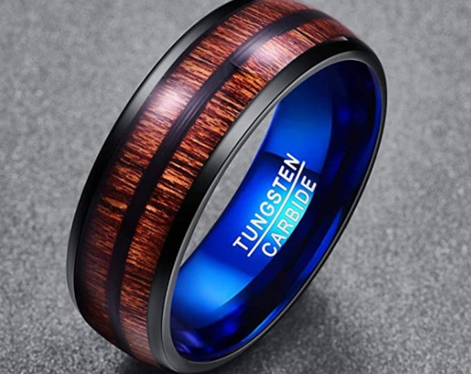 8mm Tungsten Carbide Black Dome Band with Chroma-Blue Inner band and Split Acacia Wood Inlay (wedding, anniversary, engagement) US Size 7-12