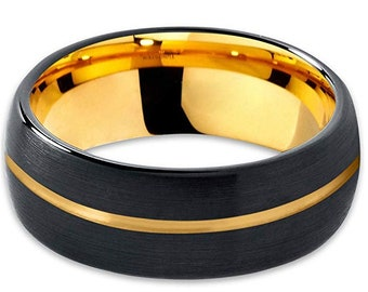 Custom order for:  RD  (Black Tungsten Carbide with Off-Set 24K Gold Plated Inlay)
