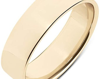 14K GOLD PLATED Sterling Silver Ring, Comfort Fit, Wedding Band, Unisex, Engagement, Promise Ring, Hypoallergenic, Sizes 6-9.