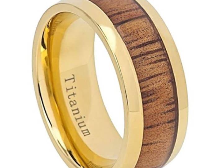 8mm Titanium & Hawaiian Koa Wood | 14k Gold Plated | Vintage Dome Wedding Band, Engagement Rings, Men or Woman, (Band Sizes 7-15)
