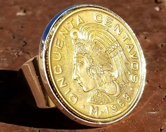 1968-1982  50 CENTAVOS- MEXICAN Flat Coin Ring (Adjustable Open Band w/ Straight Wall)  (24K Gold, Natural Silver or Antique Patina Finish).