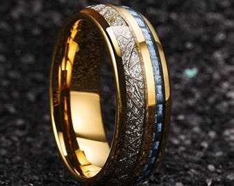 REG 345.95 7mm 24K Gold Plated Tungsten Meteorite Dome Style & Sapphire Blue Carbon Fiber Inlay | engagement, anniversary, wedding rings