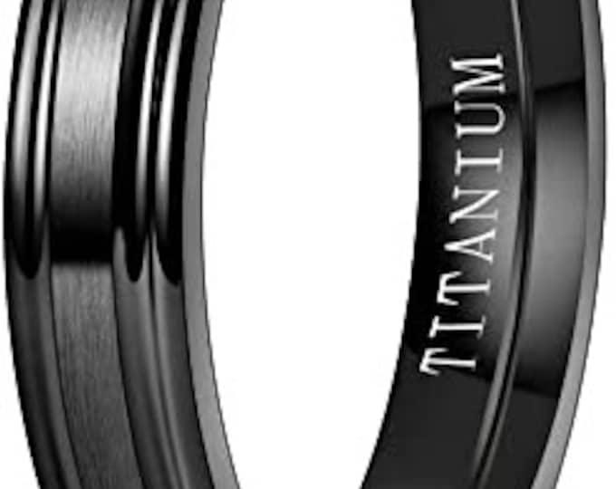 4mm Black Titanium Band,Wedding,Engagement Band,Matte Brushed Finished,Step Edge,Polished,Comfort Fit,Men's/Ladies/Women's/Girls' Ring.