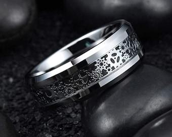 8mm Silver Tungsten & Black Fiber Ring ,Wedding Rings,Unisex Rings,Steampunk Gear Wheel,Carbon Fiber,Beveled Edges,Comfort Fit