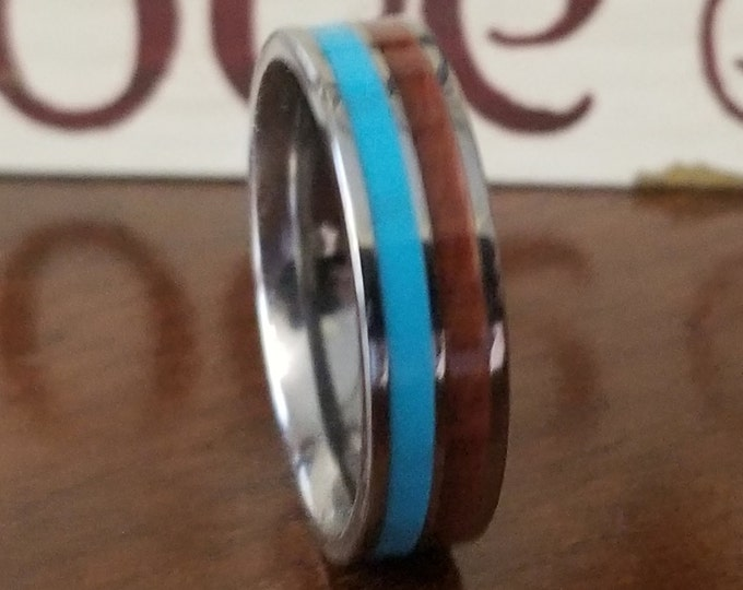 OVERSTOCK US Size 10 - 6mm Natural Koa Wood and Turquoise Stone on Comfort Fit Tungsten Carbide (Only 1 at this price - Will Ship Same Day!)