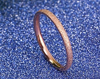 OVERSTOCK SALE!  Reg. 109.95 | 2mm Sand Blasted Rose Gold Titanium Ring US Ring Size 3-14  (wedding, anniversary, promise, engagement bands)