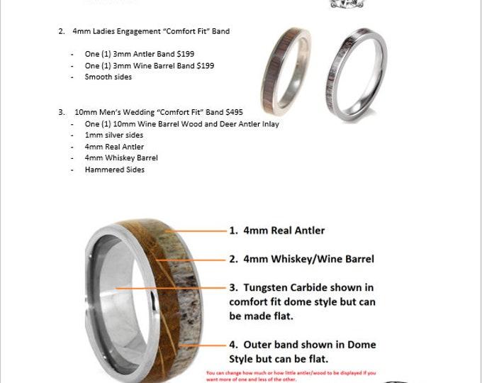 CUSTOM ORDER for Cassie - 3pcs Wedding Band Set per customer instruction