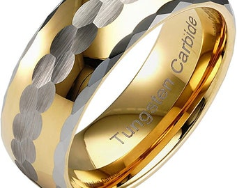 8mm 14K Gold Finish Tungsten Ring, Wedding, Engagement Band, anniversary, Domed, Comfort Fit, Gold Silver Hammer Finish, Facet Cut Edge.