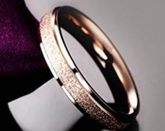 Reg. 109.95 | 4mm Sand Blasted Rose Gold Titanium Ring