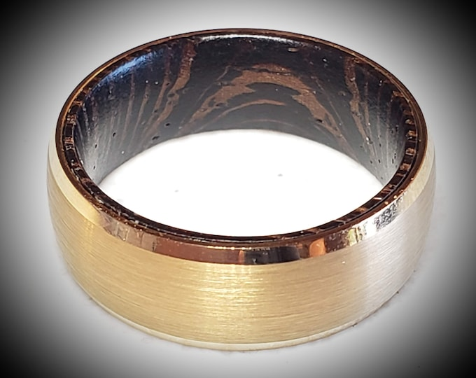Reg 395.00 - 8mm Gold Brushed Tungsten Carbide With Beveled Edges and African Wenge Wood Sleeve Inside Wedding Band, Anniversary, Engagement