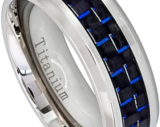 8mm Titanium Band,Wedding,Engagement,High Polished Band,Comfort Fit,Men's Ring,Women's Ring,Blue Carbon Fiber Inlay,US Sizes-5-10.