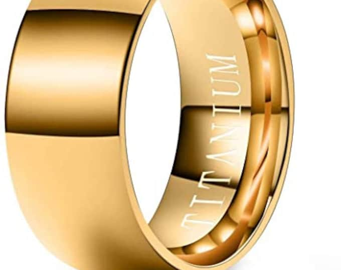 8mm Gold Titanium Band,Wedding,Engagement,Dome,High Polished Band w/ Comfort Fit,Gold Finish,Men's Ring,Ladies/Women/Girls' Ring.
