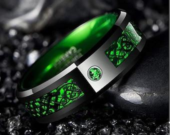 Reg. 299.95, 8mm Irish Green Tungsten Carbide Wedding Band, Celtic Dragon, Green Carbon Fiber, Emerald Green, Men's Ring, Sizes 6-16.