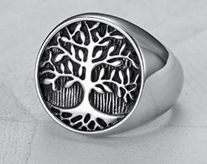 Mens Vintage Stainless Steel Tree of Life Signet Ring, Classic Gothic Family Tree Wedding Band, 22mm Silver Finished Band (US Size 7-16)