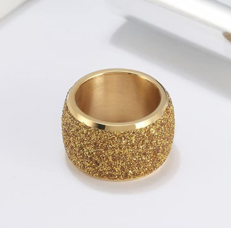 anniversary, promise ring, rose gold wedding ring Reg.159.95 16mm Womens Sandblasted Yellow Gold Finish Wedding Band Engagement Domed Ring