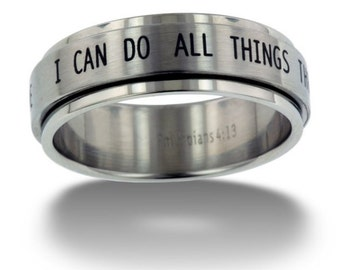"""Phil 4:13 I Can Do All Things through Christ """"Spinner Ring"""" (Stainless Steel Silver) Christian, God, Promise Ring, Jesus Christ, Lord, Bible"""