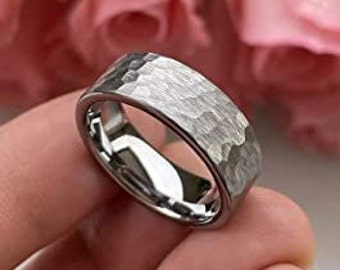 8mm Silver Hammered Tungsten Carbide Ring, Matte Finish, Pipe Cut, Comfort Fit, US Sizes 6 to 13.