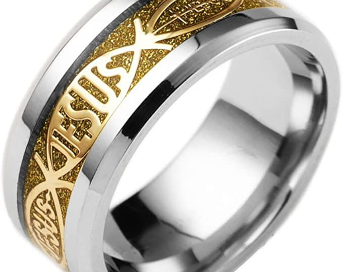8mm Stainless Steel Gold Band, Jesus Rings, Christian Wedding Band, Promise, Engagement, anniversary, Valentine's Day gift, US Sizes 6-14.