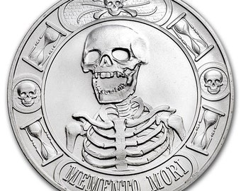 1 oz .9999 Silver Round - Memento Mori Coin Bullion (Anonymous Mint) (OPTIONS: Silver, 18K Gold, 24K Gold, Platinum, Rhodium, Rose Gold, etc