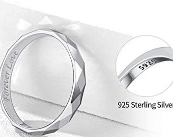 3mm 925 Solid Sterling Silver Eternity Ring, Multi-Faceted, Comfort Fit, Wedding, Engagement Band, Mens, Womens, Ring Sizes 4-12.