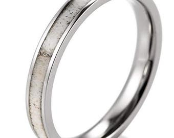 REG 179.95 - 3mm Women's Silver Titanium Ring with Real Deer Antler Inlay (wedding, anniversary, engagement, rustic, hunters, ladies band)