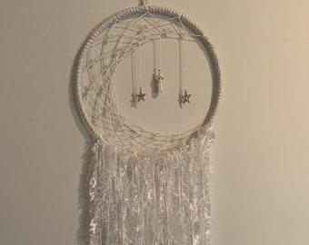 White Crescent Moon Dreamcatcher * Hanging Ornament * Wicca *