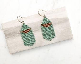 T H E . L A U R E N // Beaded Tassel Earrings, Minimalist Jewelry, Turquoise Earrings, Fringe Jewelry