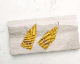 T H E . S H A N N O N . M I N I // Yellow Beaded FRINGE Earrings, Boho Style