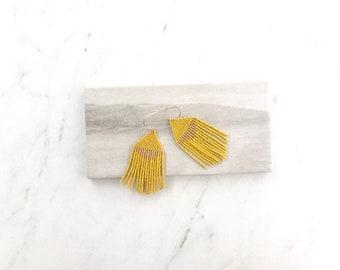 T H E . L A U R E N  // Beaded Fringe Earrings, Handwoven, Minimalist Earrings, Boho Style