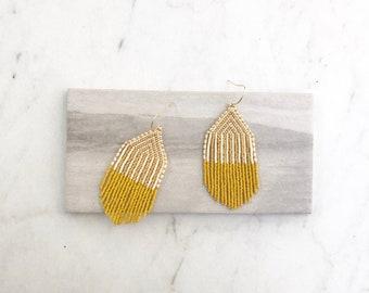 M I N I . B O W I E // Beaded Fringe Earrings, Handwoven Earrings, Statement Piece